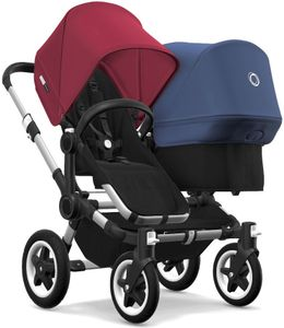 Bugaboo Donkey 2 Duo Complete Stroller - Aluminum/Black/Ruby Red/Sky Blue
