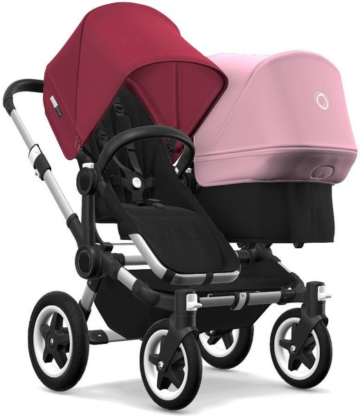 Bugaboo Donkey 2 Duo Complete Stroller - Aluminum/Black/Ruby Red/Soft Pink