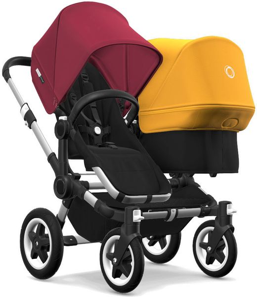 Bugaboo Donkey 2 Duo Complete Stroller - Aluminum/Black/Ruby Red/Sunrise Yellow