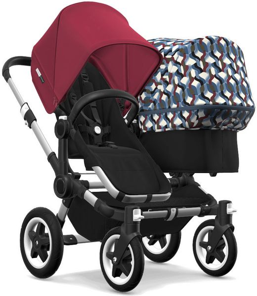 Bugaboo Donkey 2 Duo Complete Stroller - Aluminum/Black/Ruby Red/Waves