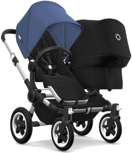 Bugaboo Donkey 2 Duo Complete Stroller - Aluminum/Black/Sky Blue/Black