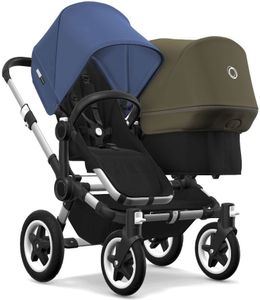 Bugaboo Donkey 2 Duo Complete Stroller - Aluminum/Black/Sky Blue/Olive Green