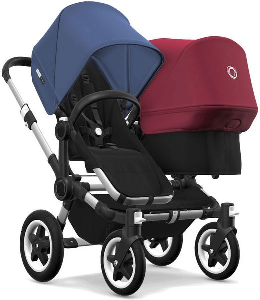 Bugaboo Donkey 2 Duo Complete Stroller - Aluminum/Black/Sky Blue/Ruby Red