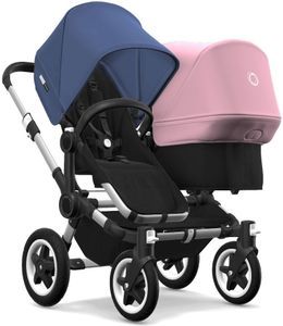 Bugaboo Donkey 2 Duo Complete Stroller - Aluminum/Black/Sky Blue/Soft Pink