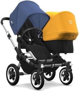 Bugaboo Donkey 2 Duo Complete Stroller - Aluminum/Black/Sky Blue/Sunrise Yellow