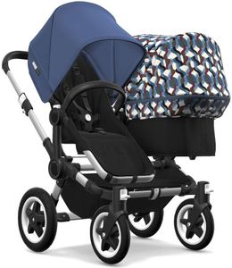 Bugaboo Donkey 2 Duo Complete Stroller - Aluminum/Black/Sky Blue/Waves