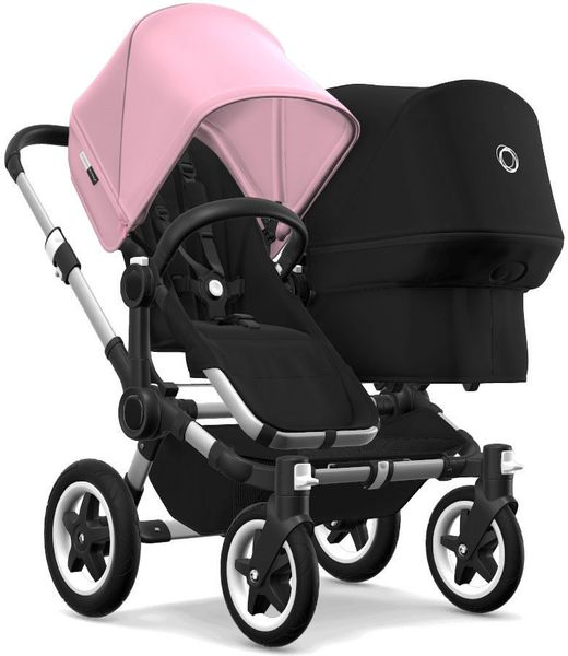 Bugaboo Donkey 2 Duo Complete Stroller - Aluminum/Black/Soft Pink/Black