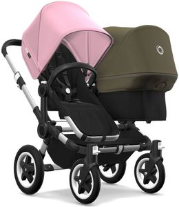 Bugaboo Donkey 2 Duo Complete Stroller - Aluminum/Black/Soft Pink/Olive Green