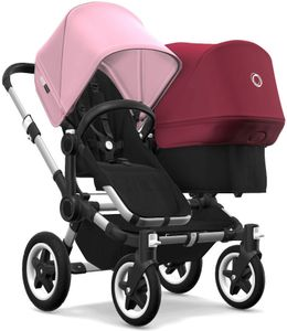 Bugaboo Donkey 2 Duo Complete Stroller - Aluminum/Black/Soft Pink/Ruby Red