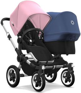 Bugaboo Donkey 2 Duo Complete Stroller - Aluminum/Black/Soft Pink/Sky Blue