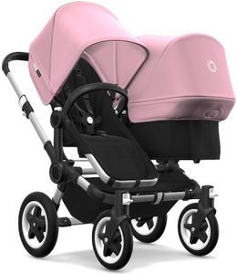 Bugaboo Donkey 2 Duo Complete Stroller - Aluminum/Black/Soft Pink/Soft Pink
