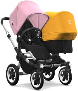 Bugaboo Donkey 2 Duo Complete Stroller - Aluminum/Black/Soft Pink/Sunrise Yellow