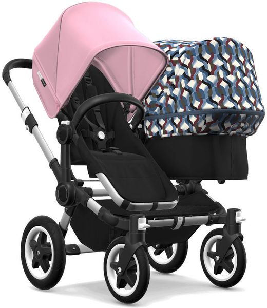 Bugaboo Donkey 2 Duo Complete Stroller - Aluminum/Black/Soft Pink/Waves