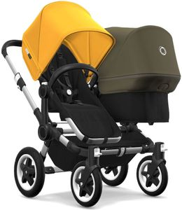 Bugaboo Donkey 2 Duo Complete Stroller - Aluminum/Black/Sunrise Yellow/Olive Green