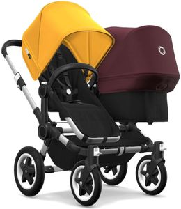 Bugaboo Donkey 2 Duo Complete Stroller - Aluminum/Black/Sunrise Yellow/Red Melange