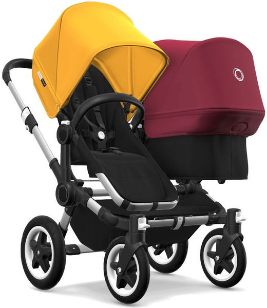 Bugaboo Donkey 2 Duo Complete Stroller - Aluminum/Black/Sunrise Yellow/Ruby Red