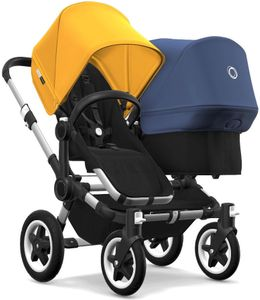 Bugaboo Donkey 2 Duo Complete Stroller - Aluminum/Black/Sunrise Yellow/Sky Blue
