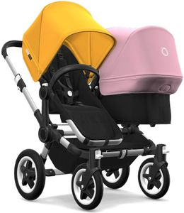 Bugaboo Donkey 2 Duo Complete Stroller - Aluminum/Black/Sunrise Yellow/Soft Pink