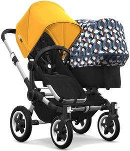 Bugaboo Donkey 2 Duo Complete Stroller - Aluminum/Black/Sunrise Yellow/Waves