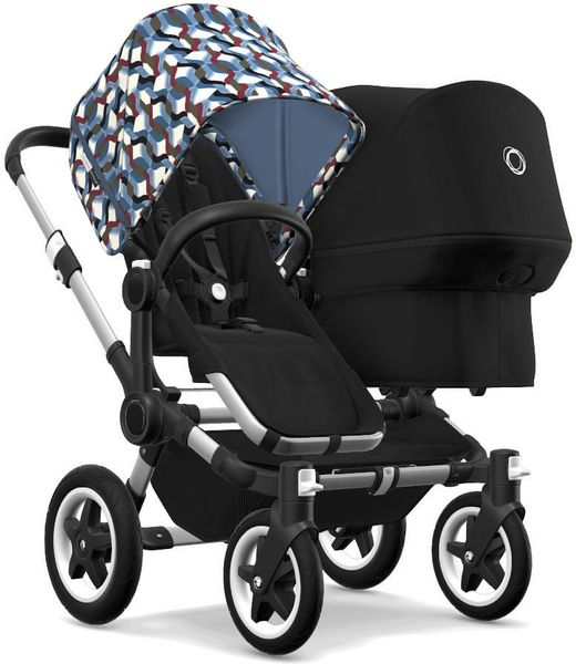Bugaboo Donkey 2 Duo Complete Stroller - Aluminum/Black/Waves/Black