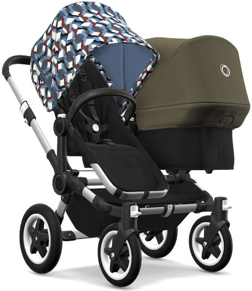 Bugaboo Donkey 2 Duo Complete Stroller - Aluminum/Black/Waves/Olive Green