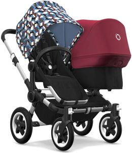 Bugaboo Donkey 2 Duo Complete Stroller - Aluminum/Black/Waves/Ruby Red