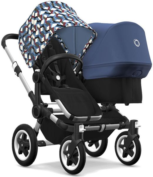 Bugaboo Donkey 2 Duo Complete Stroller - Aluminum/Black/Waves/Sky Blue
