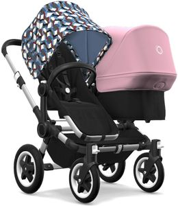 Bugaboo Donkey 2 Duo Complete Stroller - Aluminum/Black/Waves/Soft Pink