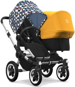 Bugaboo Donkey 2 Duo Complete Stroller - Aluminum/Black/Waves/Sunrise Yellow