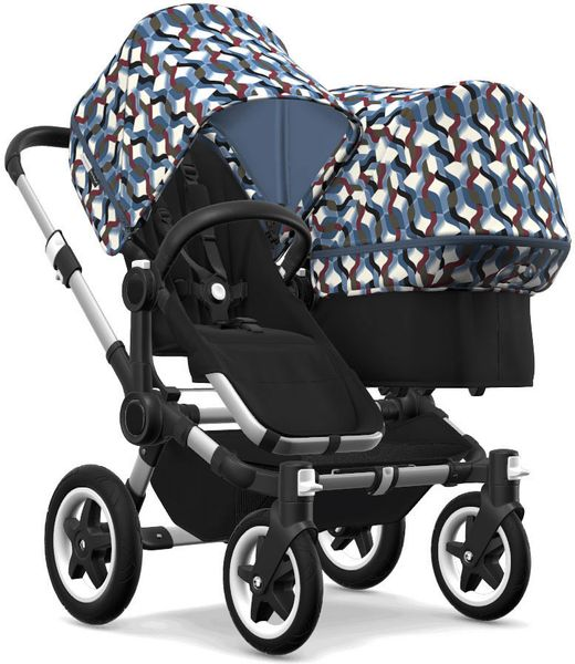 Bugaboo Donkey 2 Duo Complete Stroller - Aluminum/Black/Waves/Waves