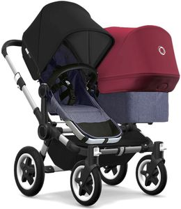 Bugaboo Donkey 2 Duo Complete Stroller - Aluminum/Blue Melange/Black/Ruby Red