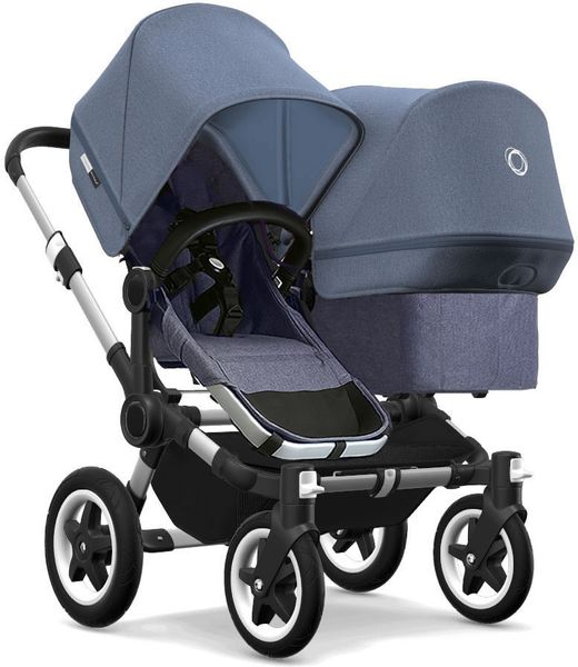 Bugaboo Donkey 2 Duo Complete Stroller - Aluminum/Blue Melange/Blue Melange/Blue Melange
