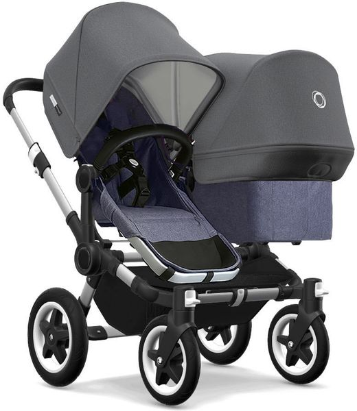 Bugaboo Donkey 2 Duo Complete Stroller - Aluminum/Blue Melange/Grey Melange/Grey Melange