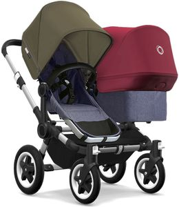 Bugaboo Donkey 2 Duo Complete Stroller - Aluminum/Blue Melange/Olive Green/Ruby Red