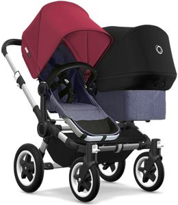 Bugaboo Donkey 2 Duo Complete Stroller - Aluminum/Blue Melange/Ruby Red/Black