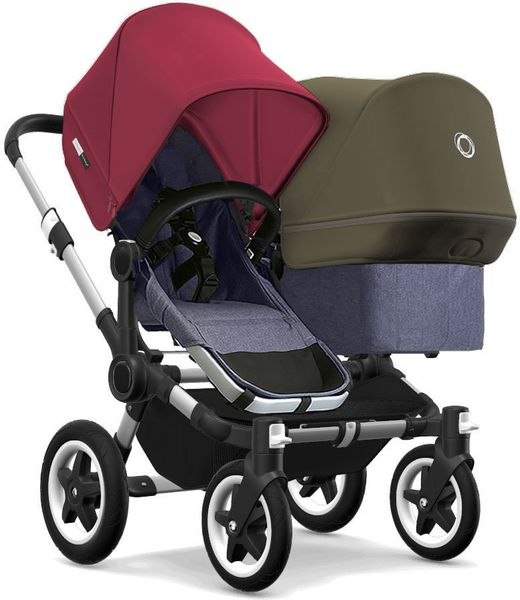 Bugaboo Donkey 2 Duo Complete Stroller - Aluminum/Blue Melange/Ruby Red/Olive Green