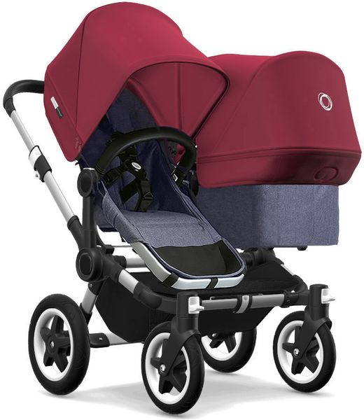 Bugaboo Donkey 2 Duo Complete Stroller - Aluminum/Blue Melange/Ruby Red/Ruby Red