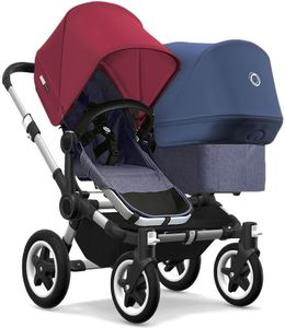 Bugaboo Donkey 2 Duo Complete Stroller - Aluminum/Blue Melange/Ruby Red/Sky Blue