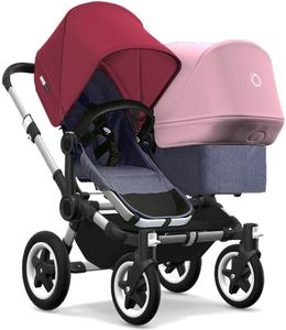 Bugaboo Donkey 2 Duo Complete Stroller - Aluminum/Blue Melange/Ruby Red/Soft Pink