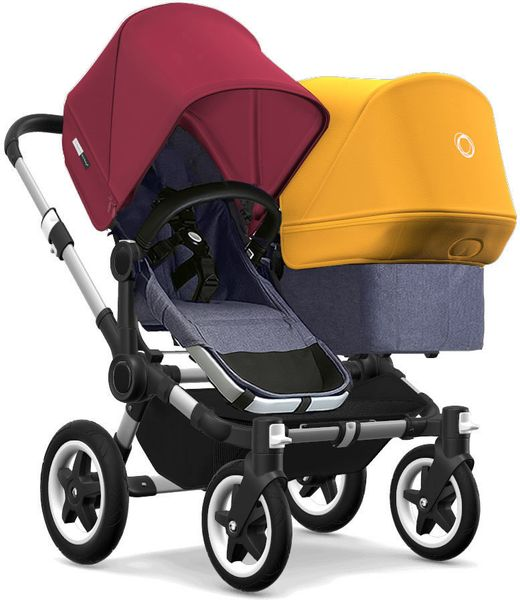 Bugaboo Donkey 2 Duo Complete Stroller - Aluminum/Blue Melange/Ruby Red/Sunrise Yellow