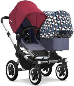Bugaboo Donkey 2 Duo Complete Stroller - Aluminum/Blue Melange/Ruby Red/Waves