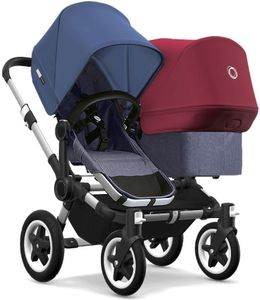 Bugaboo Donkey 2 Duo Complete Stroller - Aluminum/Blue Melange/Sky Blue/Ruby Red