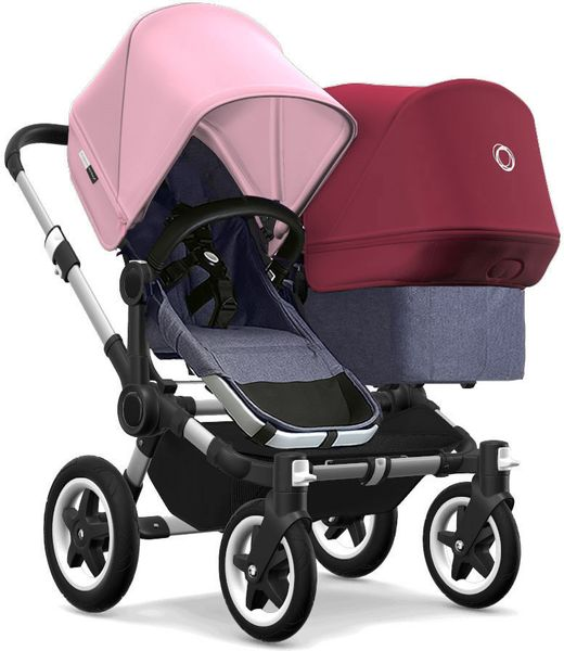Bugaboo Donkey 2 Duo Complete Stroller - Aluminum/Blue Melange/Soft Pink/Ruby Red