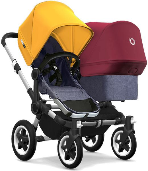 Bugaboo Donkey 2 Duo Complete Stroller - Aluminum/Blue Melange/Sunrise Yellow/Ruby Red