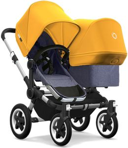 Bugaboo Donkey 2 Duo Complete Stroller - Aluminum/Blue Melange/Sunrise Yellow/Sunrise Yellow