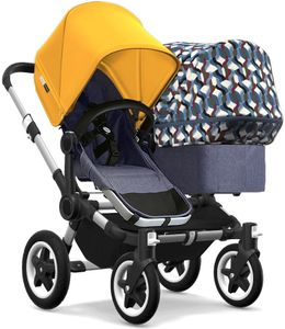 Bugaboo Donkey 2 Duo Complete Stroller - Aluminum/Blue Melange/Sunrise Yellow/Waves