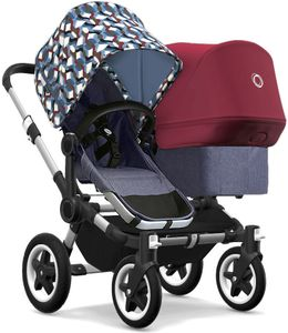 Bugaboo Donkey 2 Duo Complete Stroller - Aluminum/Blue Melange/Waves/Ruby Red
