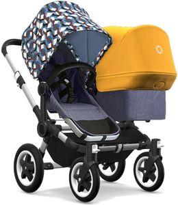 Bugaboo Donkey 2 Duo Complete Stroller - Aluminum/Blue Melange/Waves/Sunrise Yellow