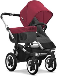 Bugaboo Donkey 2 Mono Complete Stroller - Aluminum/Grey Melange/Ruby Red