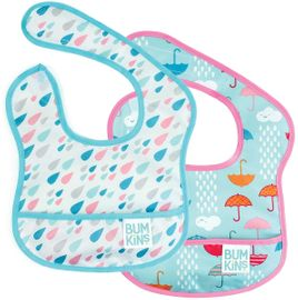 Bumkins Starter Bib, 2 Pack - Raindrops & Umbrella